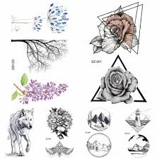 Us 039 10 Off3d Sketch Temporary Women Tattoo Stickers Girls Arm Geometric Triangle Rose Fake Tatoos Small Black Wolf Waterproof Tattoo Round In