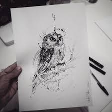 оригинальный универсальный эскиз тату совы 352