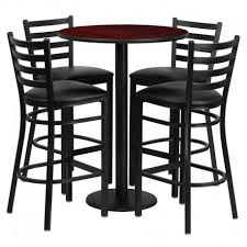 seymour round 30 mahogany laminate bar pub table set w 4 ladder back