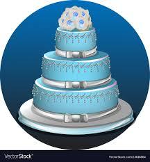 Three Tier Light Blue Wedding Cake Royalty Free Vector Image