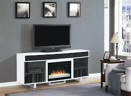 image of white electric fireplace stand tv