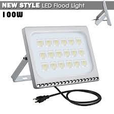 1x 100w led flood light cool white with us plug outdoor spotlight garden lamp