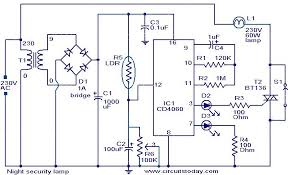 night security light electronic circuits and diagram electronics night security light