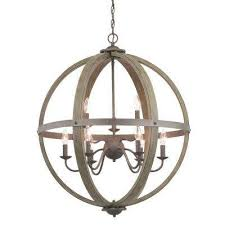 keowee 9 light artisan iron orb chandelier with distressed elm wood accents
