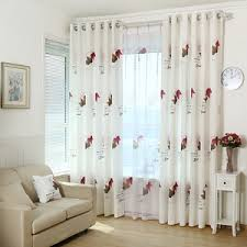 White Leaf Print Polyester Elegant Insulated Living Room Curtains