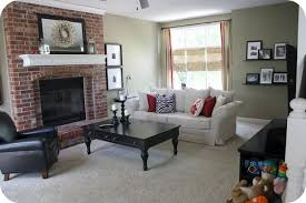 I Red Brick Fireplace With A Slightly Greenish Stone Colour On The Walls   Farrow And Ball