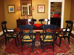 Red Dining Room Chairs Gold Metal Chandelier Dining Table Cloth Red Pattern Plate Brown