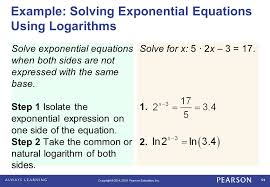 example solving exponential equations using logarithms