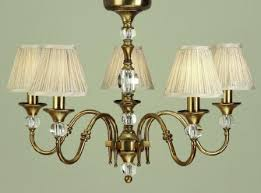 polina antique brass 5 light chandelier with beige shades interiors 1900