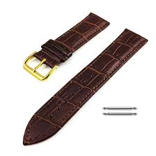 seiko compatible brown croco genuine leather replacement watch band strap gold steel buckle 1082 loading zoom