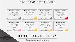 Programme Des Cours De Pâtisserie