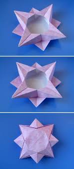 Christmas origami: Scatola a stella 4 - Star box 4. Designed and folded by