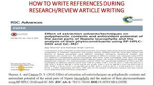 how to write reference in research