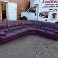 Leather sectional: Purple ...