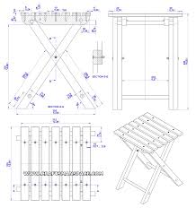 Folding stool plan - Assembly 2D drawing