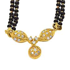 details about 0 30ct g vs diamond 18k gold mangalsutra pendant with 19 black kedia chain