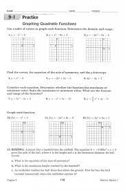 graphing quadratic functions worksheet answer key unique quadratic 1074848