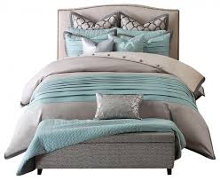 contemporary teal and gray bedding with two coordinating standard shams and euro shams and three embellished