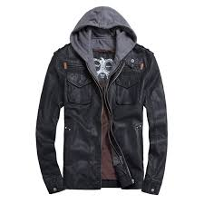 2019 whole thooo brand mens pu leather jackets hoo jacket for mens good quality faux leather business outwwaer drop ship from fenghuangmu