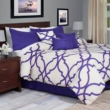 lavish home trellis 7 piece purple queen comforter set