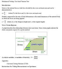 Mechanical Testing Uni Axial Tension Test Introdu