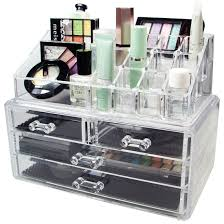 acrylic makeup organizer storage box case cosmetic jewelry 4 drawer cases holder makeup conner bo rangement
