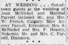 Jean McNichol Marshal Parrott Marriage - Newspapers.com