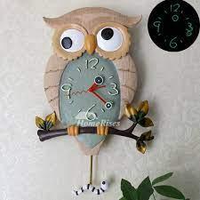 funny wall clocks owl pendulum luminous