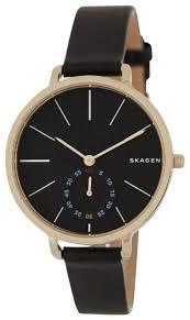 Skagen Denmark Black Women S Hagen Leather Strap 34mm Watch 41 Off Retail