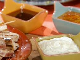 seared tuna yellowl and salmon with three dipping sauces recipe bobby flay food network