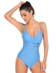 Ekouaer One Piece Swimsuit Womens Tummy Control Bathing Suit V Neck Padded Monokini S Xxl