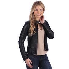 united face black peplum seamed moto jacket for women