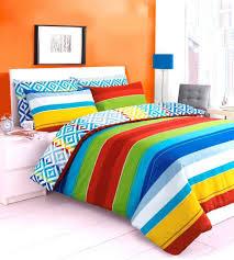 multi colour rainbow zig zag stripes design reversible bedding duvet quilt cover set