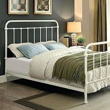White Metal Bed Frame King Size Contemporary Vintage Style Rustic ...