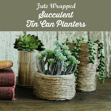 Jute cord wrapped Tin Can Succulent Planters   www.knickoftime.net