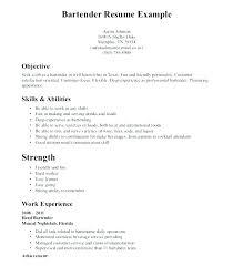 Resume Example Bartender