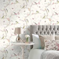 Wallpaper Living Room Feature Wall Beautiful Birds Themed Wallpapers In Various Designs Feature Wall