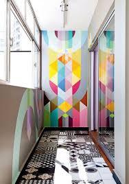 Modern Vibrant Geometric Hallway Walls