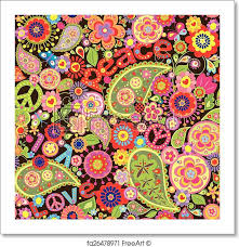 free art print of hippie wallpaper hippie wallpaper with colorful spring flowers and paisley freeart fa26478971