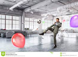 Playing Office Soccer Stock Photo Image Of Mixed Adult 96499112