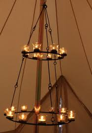 tea light chandelier double tier turquoise glass by bell tent boutique