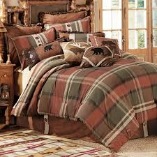 bedroom rustic bedding cabin bedding black forest decor with brown wooden floor and plaid bedding also grey wall for bedroom ideas
