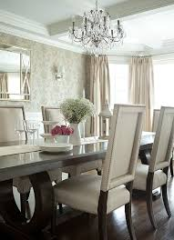 the elegant abode li dining room glam dining room crystal chandelier walnut dining table upholstered dining chairs nailheads silk dry