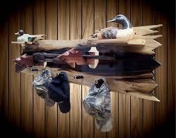 Rifle Coat Rack Rustic Wood Wall Gun Rack Aged Poplar Shelf Shotgun Shell Hat Coat 43