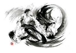 sumi e painting aikido randori fight popular techniques martial arts sumi e samurai ink