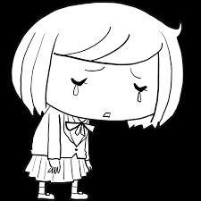 がっくりと肩を落として落ち込み泣く中学生女子高生塗り絵