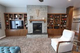 thumb great room contemporary style walnut um color banded door entertainment center mantel bookcase fireplace built