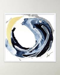 four hands navy swirl abstract giclee art