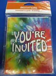 Details About Tie Dye Groovy Rainbow 60s Hippie Theme Birthday Party Invitations W Envelopes