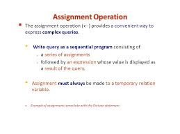 "more slides on ""division operation"" in relational algebra query  2 assignment operation"